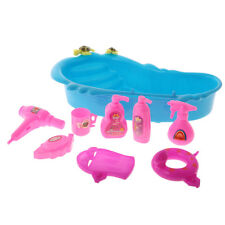 9 Pcs Kids Bathroom Toy Accessories Mini Barbie Doll Bathtub & Bath Supplies Set