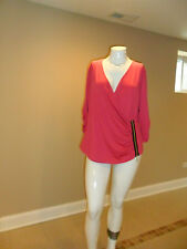 Nicki Minaj Women's Wrap Front Top V neck 3/4 Slvs exposed zipper Hot Pink XXXL