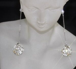 """""""Crystal Ball"""" Design & Swarovski Crystal 14K White Gold GF 925 Long Earrings -C"""