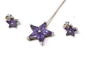 x3 Vintage Thomas Sabo Silver 925 Amethyst Star Earrings Pendant Necklace Suite
