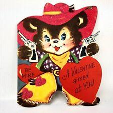 Vtg 40s 50s Valentines Card Cowboy Bear W Pistols Gun 6 Shooters Chaps Hat Scarf