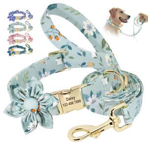 Floral Flower Nylon Personalised Dog Collar and Lead set Adjustable ID Collar