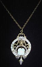 "Kirks Folly Opal Crystal Antique-Style Brasstone Necklace-23"""
