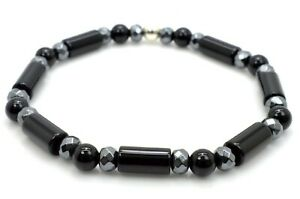 Bracelet Natural Onyx and Hematite Beads with 925 Sterling Silver Handmade in UK