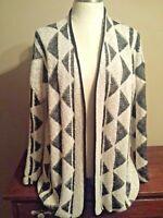 MAVI women's cardigan sweater size M, black, white print, long sleeves