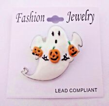 Pumpkins Safety Clasp For Teachers White Ghost Pin Halloween Brooch