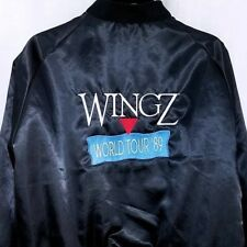 WingZ World Tour 89 Mens Satin Bomber Jacket Vtg 80s Informix Software USA XL