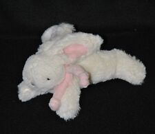Peluche doudou lapin bonbon JACADI blanc rose 16 cm de long TTBE