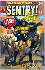 NEW AVENGERS #9 SENTRY RETAIL VARIANT SIGNED HERB TRIMPE WIZARD COA MARVEL MOVIE