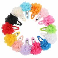 10Pcs Chiffon Flower Girls Hair Clips Baby Hairpins Barrettes Headwear Chil G6Z9