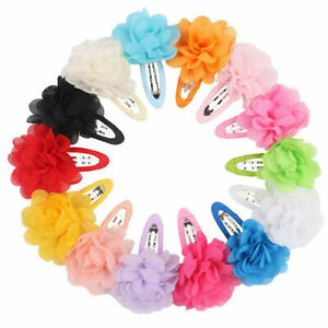 10Pcs Chiffon Flower Girls Hair Clips Baby Hairpins Barrettes Headwear Chil G6Z9