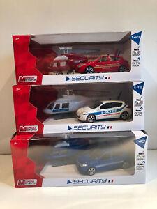1/43 LOT De 3 Voitures Miniatures+Hélicoptères GENDARMERIE POLICE POMPIERS Neuf