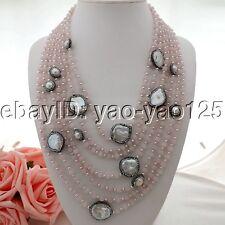 K062103 7Sthands White Pearl  Rose Quartz CZ Necklace