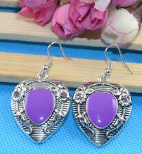 Nice New Tibetan Silver Artesian Crafted Purple Enamel Hook Dangle Drop Earrings