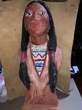 Vtg Native American Indian Chief Headdress Chalk Statue West
