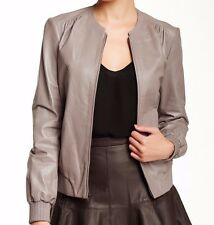 NWT HALSTON HERITAGE Sz10 ZIP-FRONT LEATHER BOMBER JACKET IN CINDER $1,095.00