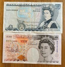 GREAT BRITAIN 5 POUNDS & 10 POUNDS   - 2 BANKNOTES