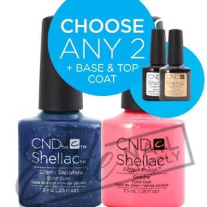 CND SHELLAC - 7.3ml - Any 2 Colours + Base + Top Coat + FREE Remover Wraps 10ct