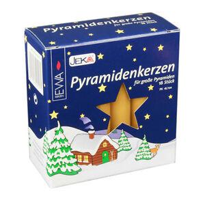"""JEKA 18 German Large Natural Color Christmas Pyramid Candles 4"""" x 11/16"""" Dia"""