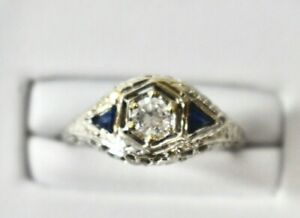 Estate Jewelry 1.00 CT Diamond & Sapphire Ring 14K White Gold Size 5 On Sale