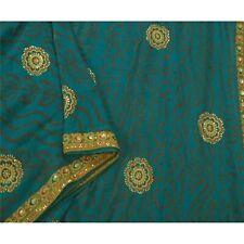 Sanskriti Vintage Blue Sarees Pure Georgette Silk Fabric Hand Bead Bandhani Sari