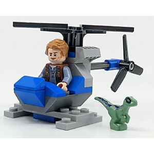 LEGO Jurassic World: Owen with Helicopter and Baby Raptor Blue