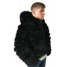 Bomber Men coat jacket natural fur fox  size M - XL
