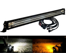 "52"" Amber White Dual Color Changing Flash Strobe LED Light Bar Harness 12V 24V"
