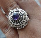 925 Solid Silver Balinese Poison Locket Ring Round Amethyst Cab Size 6-H116