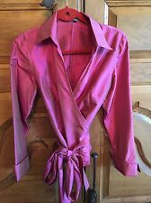 Woman's Metallic Pink Silk Wrap Jacket Size L