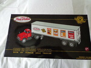 TRUE VALUE COTTER & CO.50 YEARS OF QUALITY SERVICE 1959 IH RF200 TRACTOR/TRAILER