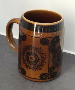 Mid Century Vintage Cup Stein Stavangerflint Norway Scandi Floral Sera 1 Pint