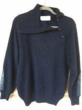 Claude Montana Gianni Ballanti Navy Mohair Wool Leather Sweater. M. Immaculate.