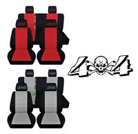 Front Rear Truck Seat Covers Fits 2007-12 Jeep Wrangler Embroidered 4 x 4 Design