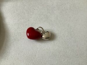Links of London double heart charm red and silver