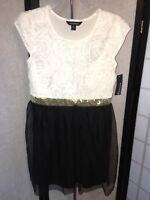 George Girls Large 10-12 Soutache White Flower Top Black Tulle Skirt Dress NWT