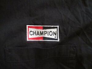 CHAMPION SPARK PLUG EMBROIDERED LOGO SHIRT Button Down Work Car Black Mens XL