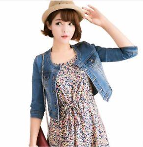 HOT Womens Denim Jacket Vintage Jean Jacket Slim Short outwear coat Distressed