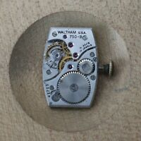 Vintage Waltham 750-B Manual Wind 17 Jewels 4Adj Wrist Watch Movement Parts