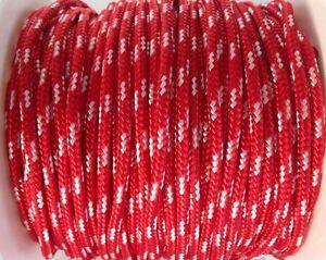 Reepschnur 2, 3 und 4 mm rot-weiss PES Polyester geflochten Flechtkordel
