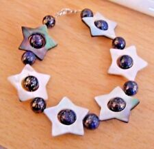 """Hollow Star Shell and Blue Marcasite Bead 7"""" Threaded Bracelet"""