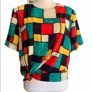 Castle berry Long sleeve Shirt Pink 80s Top Abstract Print 1980s women top Black Women Sweater