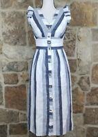 New Point Sur By J Crew Blue Striped Linen Summer Dress 2