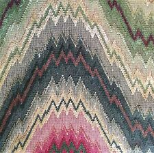 CLARENCE HOUSE Mombasa red linen cotton flame stitch chevron Remnant New $40.