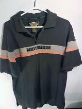 Vintage Harley-Davidson Embroidered Collar Shirt 100% Cotton Brown Orange Polo L