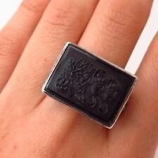 925 Sterling Antique Carnelian Cameo Zeus Hera Hermes Gods Ring Size 10 1/4