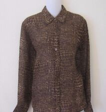LIZ CLAIBORNE SEXY BROWN GIRAFFE ANIMAL SHEER BUTTON DOWN SHIRT TOP EUC SZ M 6 8