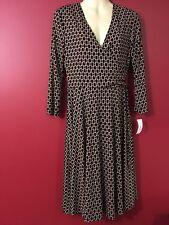 Dressbarn Women's Black / Beige Print Wrap Dress - Size 4 - NWT