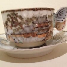 Kutani Butterfly Handle Handpainted Tea Cup And Saucer
