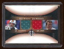 2005 ULTIMATE JOE MONTANA / DAN MARINO DUAL GAME WORN JERSEY /50  MINT   HOF